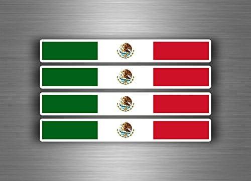 Akachafactory 4 X Selbstklebend Sticker Auto Moto Stripes Flagge Tuning Mexiko Mexikanische Auto