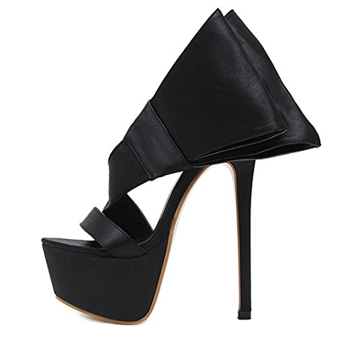 Black Womens Party Heels Strap Size MNII High summer Banquet Ladies Fashion Toe Sandals Ankle Evening Wedding Shoes T4qwqaAx