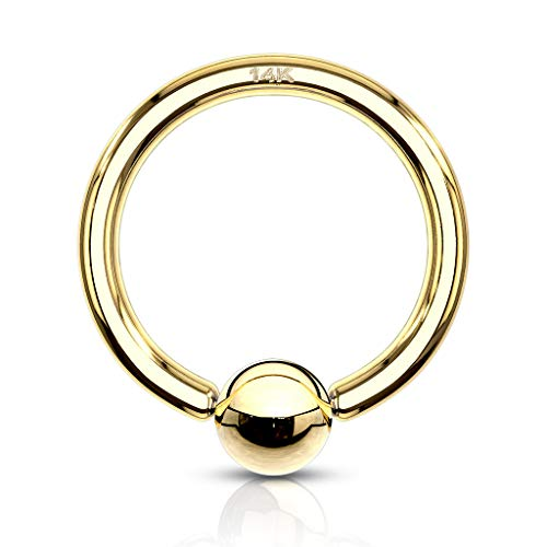 18 Gauge 5/16 Inch 3mm Bead 14K Solid Gold Captive Bead Ring Hoop CBR Body Jewelry C94