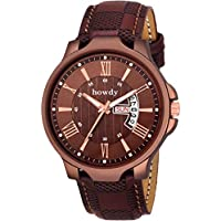 howdy Analogue Brown Dial Leather Strap, Day and Date Men's Watch