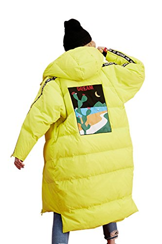 Elf Sack Women's Hooded Down Jacket Long Winter Coats With Raglan Sleeve Yellow X-Large by Elf Sack (Image #1)