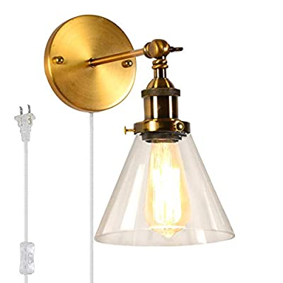 Kiven Brass Retro Industrial Wall Lamp Vintage Fixtures LED Plug-in Stair Light Loft Style Edison Wall Sconce 1-Light(Blub Included)