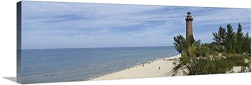 Little Sable Point Lighthouse (Canvas On Demand Premium Thick-Wrap Canvas Wall Art Print entitled Lighthouse at the lakeside, Little Sable Point Lighthouse, Silver Lake Sand Dunes Area, Lake Michigan, Michigan, 36