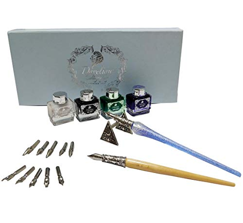 - Daveliou Calligraphy Pen Set - 17-Piece Kit - Silver Leaf Blue Glass & Wooden Pens - 10 Nib & 4 Ink Set - Superior Control