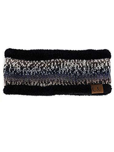 C.C Women's Multicolored Stretchy Knit Black Sherpa Lined Ear Warmer Headband