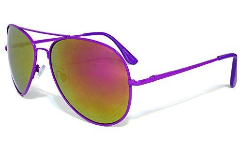 Neon Aviator Sunglasses with Big Flash Mirrored Revo Colored Lenses for Women and Men (Purple Frames, Purple Mirrored Lenses)
