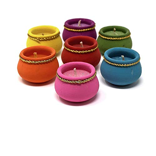 Serene Spaces Living 2-Hour Candle in Multi-Colored Handmade Terracotta Pot by CPAA, Ideal for Lighting at Festivals, Available in Sets of 9 and 16 (16) Decorating Terra Cotta Pots