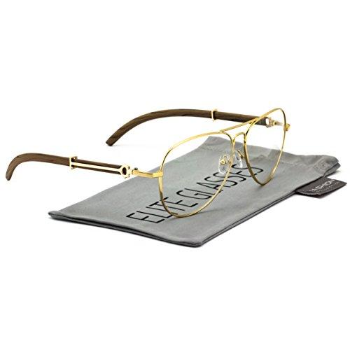 (Elite Executive Metal Wood Aviator Sunglasses Art Nouveau Vintage Style Clear Lens Eyeglasses (Rose Gold/Light Brown))