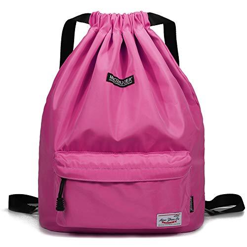 - WANDF Drawstring Backpack String Bag Sackpack Cinch Water Resistant Nylon for Gym Shopping Sport Yoga (Rose 6032)