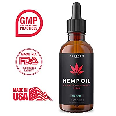 Hemp Oil Extract for Pain Relief (1 Fl Oz | 30ML) by Heathen Fitness :: Mint Flavor :: Anxiety :: Relaxation :: All-Natural Ingredients :: Full Spectrum