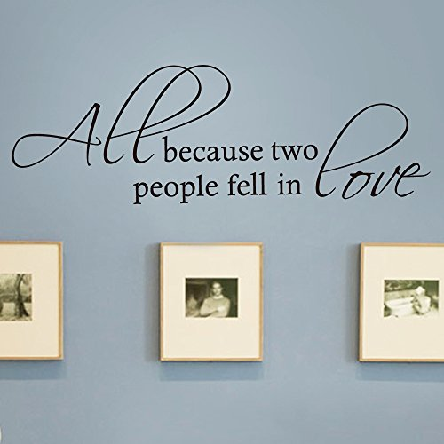 (MoharWall Picture Wall Idea Decals Bedroom Love Quote Art Lettering Vinyl Saying Sticker All Because Two People Fell in Love Wedding Décor)