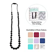 Goobie Baby Audrey Silicone Teething Necklace for Mom to Wear, Safe BPA Free Beads to Chew - Black