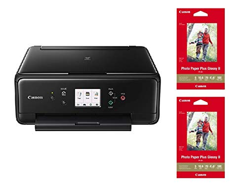 Canon TS6120 Wireless All-in-One Printer with Scanner and Copier Black + 2 Photo Paper Plus Glossy II (100sheets) ()