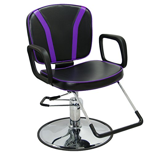 Review LCL Beauty Salon Styling Station Package: Adjustable Hydraulic Salon Barber Chair, Black Wall Mount Styling Station with Purple Drawers, and 1/2 Thick Semi-Circle Anti-Fatigue Floor Mat
