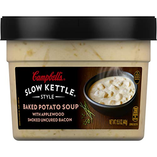- Campbell's Slow Kettle Style Baked Potato with Bacon Soup, 15.5 oz. Tub (Pack of 8)
