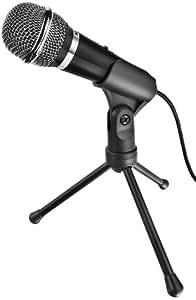 Trust Starzz - Micrófono para ordenador (con botón silenciador y trípode), Negro