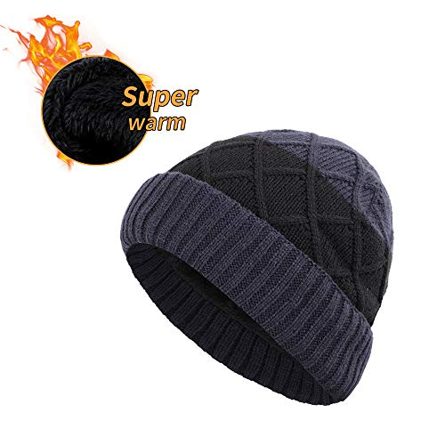 XIAOHAWANG Winter Men Hat Wool Knit Outdoor Beanie Warm Chunky Skull Cap Knitted Double Layer Ski Caps Fleece Lined (Navy 3) ()