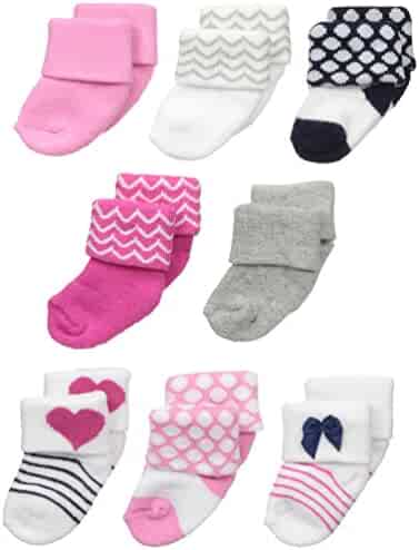 Luvable Friends Baby 8 Pack Newborn Socks