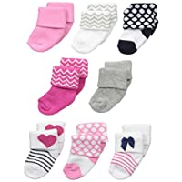 Luvable Friends Unisex 8 Pack Newborn Socks, Dark Pink/Navy, 0-6 Months