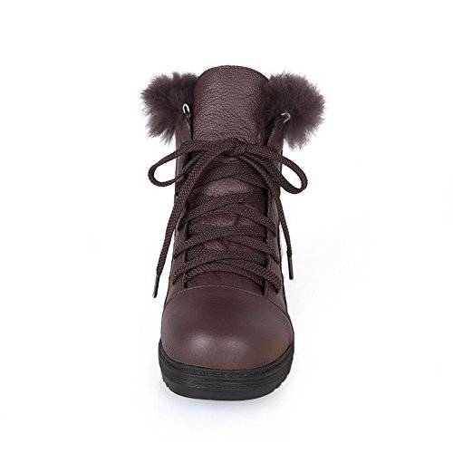 Amoonyfashion Mujer Round Round Closed Toe Low Heels Assorted Colors Botas Sintéticas Con Vendaje Marrón