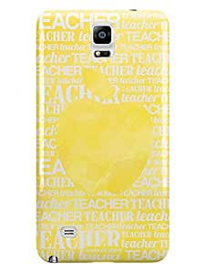Inspired Cases 3d Textured Apple silueta – Amarillo Watercolor funda para Galaxy Note 4