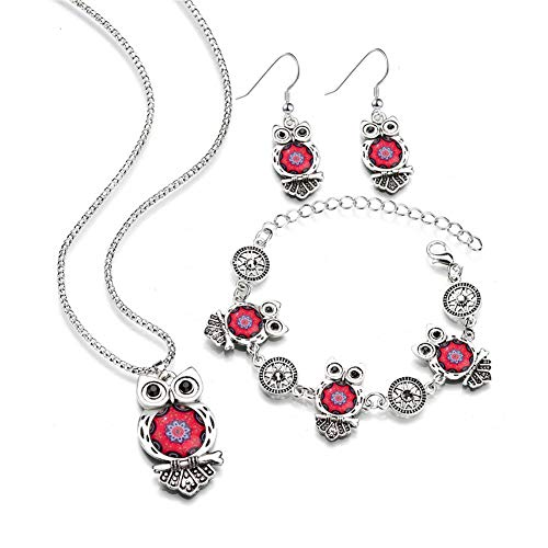 Owl Jewelry Sets for Women Vintage Silver Ethnic Tribal Turquoise Boho Necklace Drop Earrings Link Bracelet Jewelry Sets(Red)
