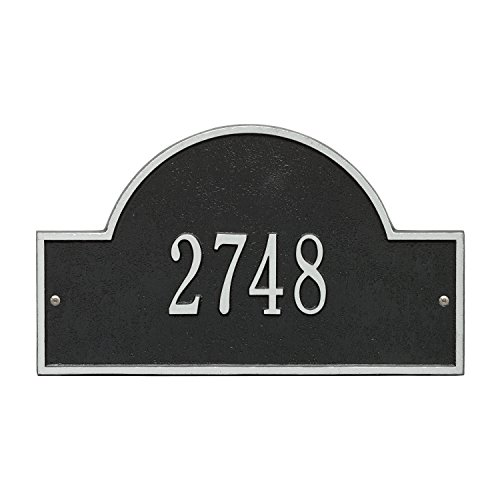 Whitehall Products Arch Marker Standard Black/Silver Wall 1-Line Address Plaque