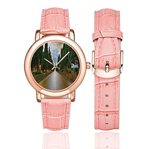 Tuscan Decor Rose Gold Leather Strap Watch,Large Boulevard with Trees in Old European Village Country Life Destination Artistic Photo for Woman,Case Diameter:1.4