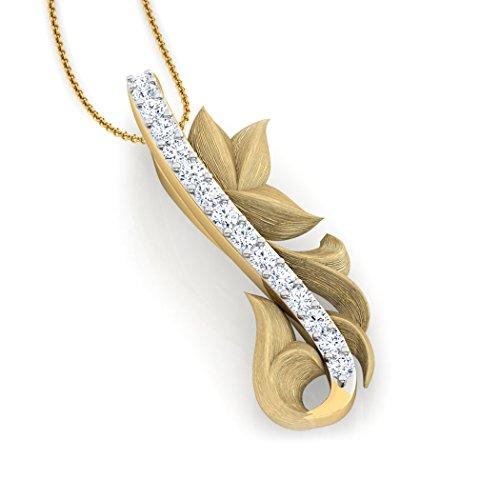 14K Or blanc 0,14CT TW Round-cut-diamond (IJ | SI) Pendentif