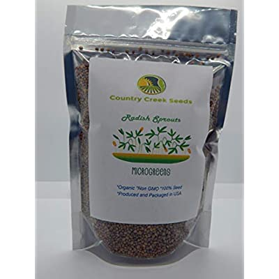 Radish, Microgreen, Sprouting, 12 OZ, Organic Seed, Non GMO - Country Creek LLC Brand - High Sprout Germination- Edible Seeds, Gardening, Hydroponics, Growing Salad Sprouts : Garden & Outdoor