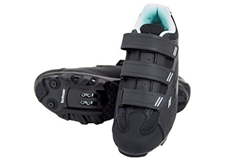 Tommaso Terra 100 - Holiday Special Pricing - Women's Mountain Biking, Spin, Indoor Cycling, Road Cycling SPD Compatible Shoe - Black/Teal - 39