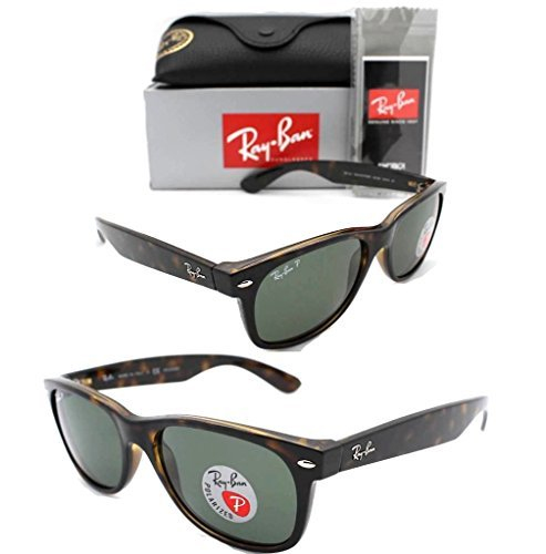Ray-Ban Womens Polarized UV Protection Tortoise/ Green Polarized Wayfarer Sunglasses - Size Ban Ray Polarized New 55mm Wayfarer Rb2132