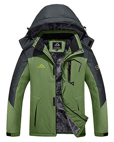 MAGOCMSEN Mens Fleece Jackets Winter Thermal Skiing Mountain Windbreaker Water Resistant Coats with Hood
