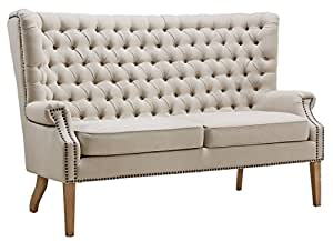 TOV Furniture The Abe Collection Classic Linen Upholstered Solid Oak Wingback Living Room Loveseat, Beige