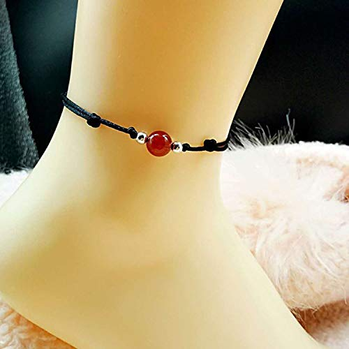 Onyx Black Cord Natural Crystal Handmade Agate Lucky red String Evil Natal Women Girls Fashion Foot Chain Anklet Ankle Bracelet Jewelry can be Adjusted 18-32 cm
