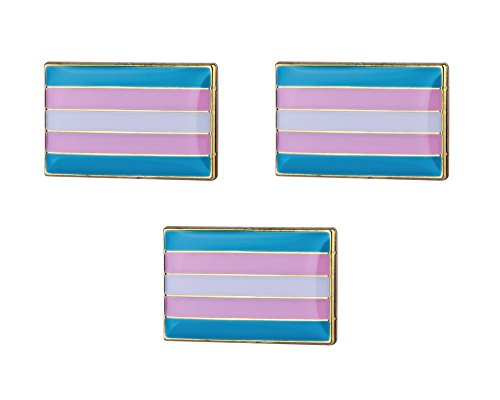 3 Pieces Transgender Flag Lapel Pins 18mm x 10.5mm LGBT Hat Tie Tack Badge (Three Button Tie)