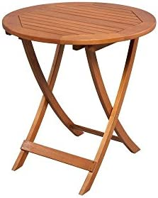 Hampton Bay Adelaide Eucalyptus 27 in. Round Folding Patio Bistro Table