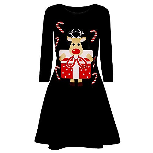 coollight Christmas Dress Womens Santa Claus Printed Gifts Xmas Dress(Black 2 X-Large)