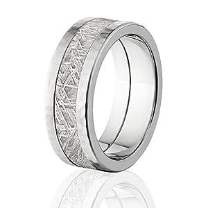 hammered meteorite rings premium finish meteorite wedding rings - Meteorite Wedding Rings