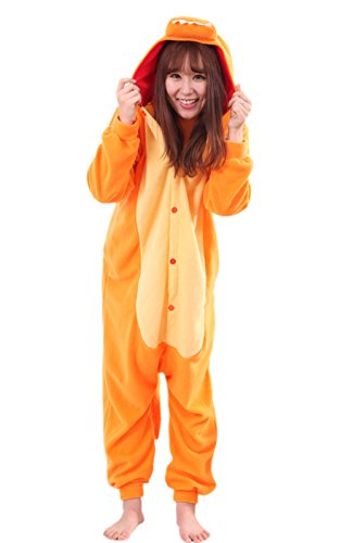 Honeystore Unisex New Dinosaur Animal Cosplay Costume Onesies Pajamas Halloween Orange XL -