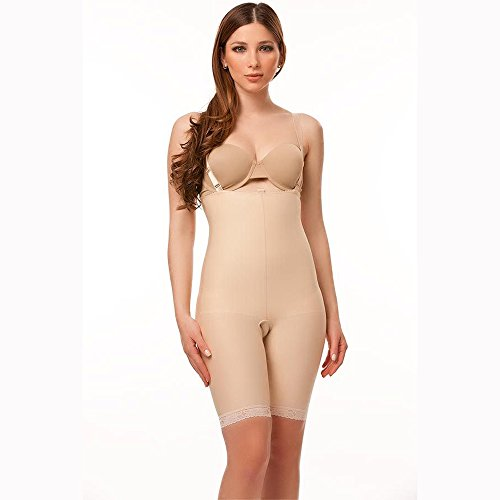 Isavela BS04 Stage 2 Body Suit w/ Suspenders-Mid Thigh-2XL-Beige from Isavela