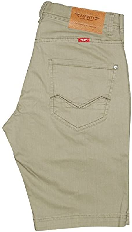 HERO BY JOHN MEDOOX Hero męskie dżinsy denim bermuda stretch spodnie szorty jeansy outdoorowe, kolor: Light Khaki , rozmiar: 36W: Odzież