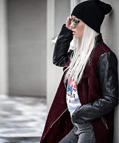 Mode Bolawoo Donna In Cappotto Lunga Invernali Relaxed Tempo Giacca Fashion Manica Di Libero Cerniera Outwear Marca Pile Autunno Transizione Giubotto Eleganti Rosso Cucitura Coat Con OrxTw54O