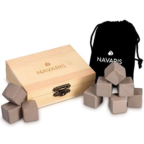 Navaris Set of 9 Whiskey Stones - Grey Granite Chilling Rocks for Ice Cold Drinks like Whisky, Wine, Vodka, Rum with Wooden Gift Box and Velvet Bag ()
