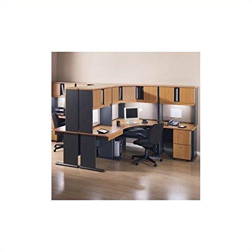 Advantage Series Computer Desk - Bush Furniture Advantage Series Corner Computer Desk with Hutch Natural Cherry and Slate Finish