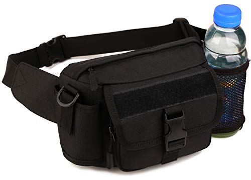 Military Single - Multi Functional Waist Pack Military Single Shoulder Hip Belt Bag Fanny Packs Water Resistant Waist Bag Pouch Hiking Climbing Outdoor Bumbag with Water Bottle Pocket Holder, Black