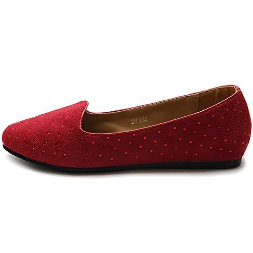 Ollio Womens Shoe Ballet Suede Jewel Stud Comfort Flat Red QUNSO4uz7