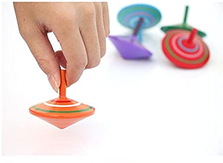 FQStech Lot of 3 pcs Handmade Painted Wood Spinning Tops Wooden Toys Education Toys Kindergarden Toys Standard Tops