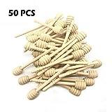 OTRMAX 50 Pieces 6 Inch Wooden Honey Sticks Jam Dipper Stirring Rod Honey Jar Dispense Drizzle Honey