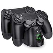 #LightningDeal PS4 Controller Charger, BEBONCOOL PS4 Wireless Charger Dual USB Fast Charging for Sony Playstation 4/PS4/ Pro /PS4 Slim Controller, DualShock 4 Charging Station with LED Indicator, Black